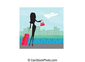 resa, flicka, skönhet, bagage