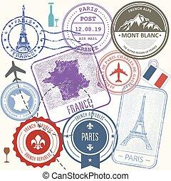 resa, -, frankrike, symboler, sätta, resa, frimärken, paris
