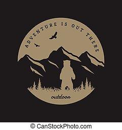 resa, illustration., bakgrund., emblem, t-shirt, vektor, design, wild., mörk