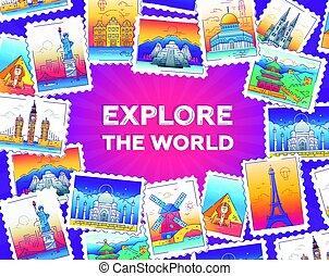 resa, -, illustration, utforska, vektor, värld, fodra
