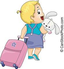 resa, illustration, väska, kanin, flicka, liten knatte, unge