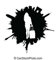 resa, illustration, väska, resande, flicka, vit