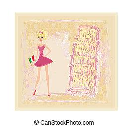 resa, italien, flicka, skönhet