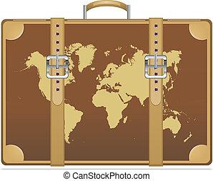 resa, karta, värld, resväska