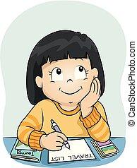 resa, lista, illustration, flicka, dröm, unge