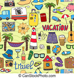 resa, mönster, tropisk, seamless, semester