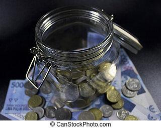 resa, pengar, glasburk, värld, semester, planerande, valuta