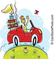 resa, pojke, färd, bil