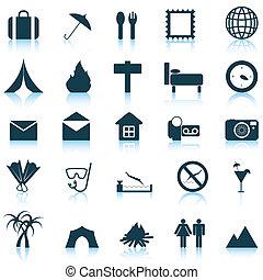 resa, sätta, ikonen