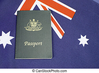 resa, sydländsk kryssa, uppe, flagga, pass, nära, australier, händelse