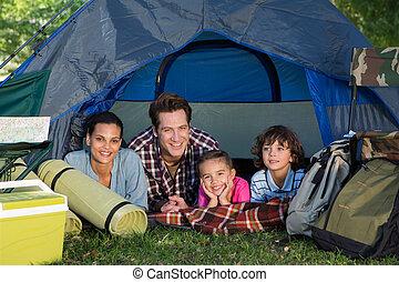 resa, tält, deras, camping, familj, lycklig