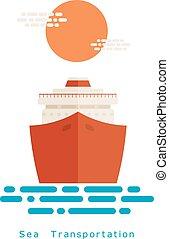 resa, travel., sunset., bakgrund, waves., ikon, lägenhet, skepp, hav, turist