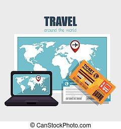 resa, värld, design, omkring