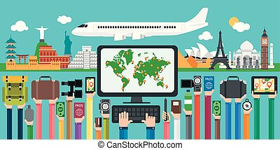 resa, värld, lov, omkring, flights, design, lägenhet