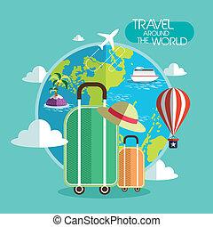 resa, värld, omkring, design, lägenhet, begrepp