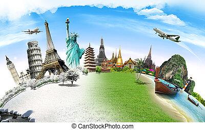 resa, världen, monument, begrepp