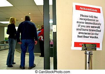resande, tålmodig, in, läkar hälsovårdscentral