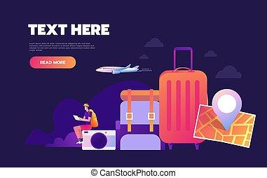 resande, websida, landstigning, världsomfattande, äventyr, omkring, infographic, värld, concept., värld, resa