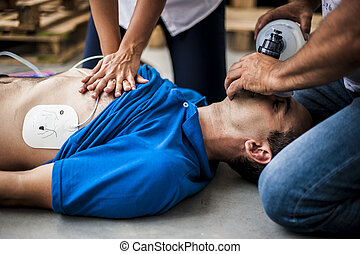 rescatadores, ayudar, con, cpr