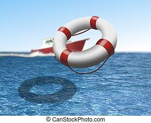 rescate barco, y, boya, en el mar