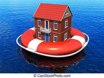 rescate, de, bienes raíces, concepto