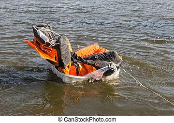 rescate, demostración, balsa salvavidas, apertura, en el...