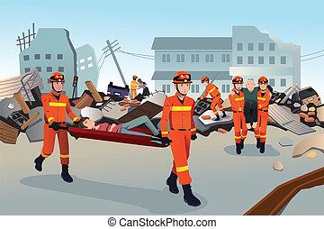 rescate, equipos, buscando, por, el, destruido, edificios
