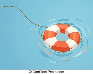 rescate, flotador, ilustración