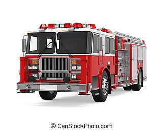 rescate fuego, camión, aislado