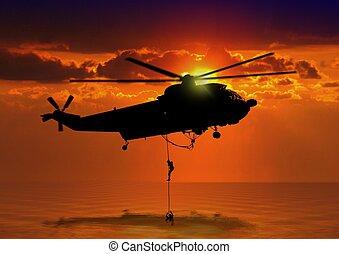 rescate helicóptero, en el mar