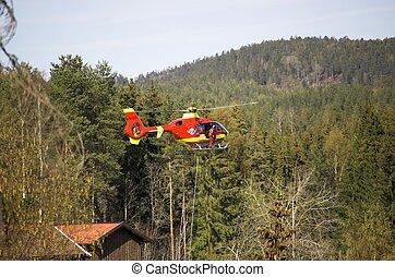 rescate, helicóptero, flotar
