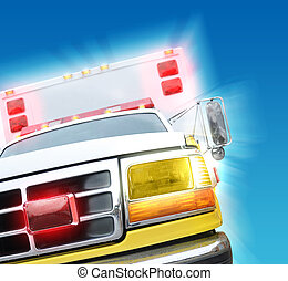 An ambulance truck is speeding to an emergency rescue.