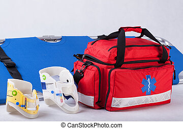 Rescue bag, cervical collars and stretcher