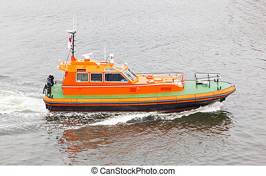 Rescue boat in the water