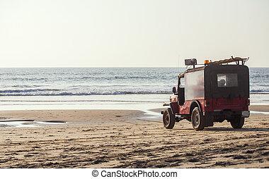 rescue car on the beach