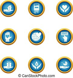 Rescue children icons set, flat style