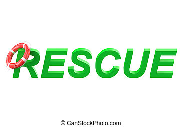 rescue concept isolated on white background