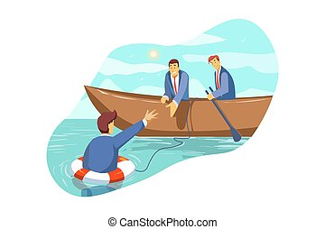 Rescue, crisis, support, team, partnership, bankruptcy, business concept