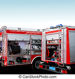 Rescue engines - Fire engine trucks with lot of equipment