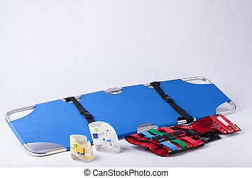 Rescue equipment - Stretcher, back protecting belts and...