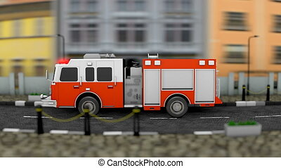Rescue fire truck moving in town road
