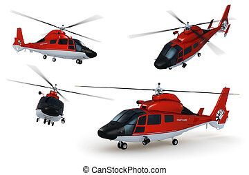 Rescue Helicopter - Composite renders of a detailed 3D model...