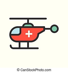 Rescue Helicopter, filled outline icon vector illustration