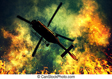 Rescue helicopter flying over fire disaster with dense smoke...