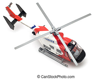 rescue helicopter - object on white - toy model helicopter