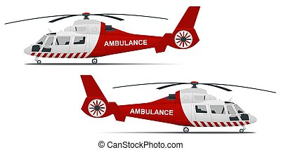 Rescue helicopter side view on a isolated white background. Red medical evacuation helicopter. Ambulance helicopter. Healthcare, hospital and medical diagnostics