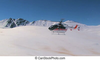 Rescue Helicopter - Rescue helicopter lands on a high...