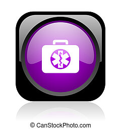 rescue kit black and violet square web glossy icon