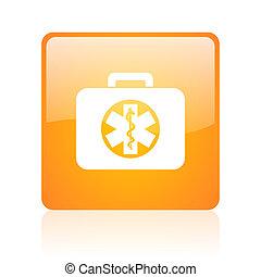 rescue kit orange square glossy web icon