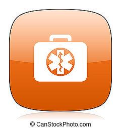 rescue kit orange square web design glossy icon